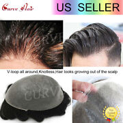 Ultra Thin Skin Mens Toupee Invisible Men Hair Replacement System Poly Hairpiece