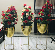 Mesmerizing Gold Planters Set Of 3 Electroplated With Powder Coating Pure Metal
