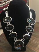Signed Navajo Silversmith At Work Sterling Silver Inlay Necklace