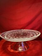 Vintage Indiana Glass Windsor Pattern Clear Glass Footed Cake/cupcake Stand