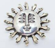 Sergio Bustamante Sun W/hands And Multi Eye Pendant Rare Collectors Best Piece