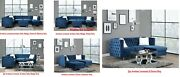 Modular Sectional Sofa Contemporary Blue Velvet Nailhead Trim Accentbuttontufted