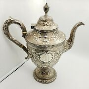 Vintage Conrad C. Bard And Son Sterling Silver Engraved 12in Floral Tea Coffee Pot