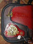 Steampunk Satchel Messenger Bag, Red And Black Unisex. Boars Head Leather. U.s.a