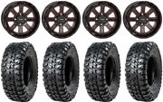 System 3 St-4 14 Wheels Red 30 Chicane Rx Tires Honda Foreman Rancher Sra