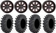 System 3 St-4 14 Wheels Red 28 Outback Max Tires Honda Foreman Rancher Sra