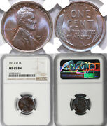 1917-d 1c Lincoln Cent Ngc Ms 65 Bn