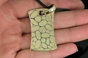 4150 John Hardy 18k Yellow Gold Kali Collection Dog Tag Pendant Cord Necklace
