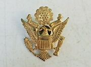 Vintage Wwii Era Us Army Military Officer Cap Hat Badge Insignia Emblem Pin