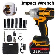 21v Cordless Impact Wrench 1/2 520nm High Torque Brushless Drill With Battery