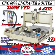 2200w 4axis 6090 Cnc Router Engraving Drilling Mill Machine 3d Cutter Handwheel