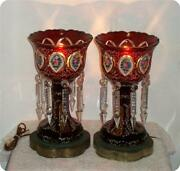 2 Germany Antique Bohemian Cranberry Glass Overlay Mantle Lusters Lustres