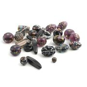 Lot 26 Czech Vintage Assorted Lampwork Molded Marble Overlay Glass Beads