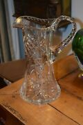 Striking 11 Tall Cut Lead Crystal Pitcher Hobnails Stars Excellent Condition