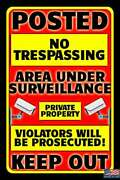 5 Pack Private Property No Trespassing 8'x12 Metal Signs Usa Made Keep Out