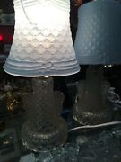 """Set Of 2 Vintage Victorian Glass Dresser Lamps - Clear Base W Blue Shade 14"""" 50s"""