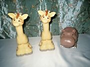 Little People 2 Giraffe And 1 Hippo Large Zoo Animal Fisher Price