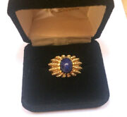 Vintage 14k Yellow Gold Genuine Star Sapphire Dome Ring Size 7.5 - Gorgeous