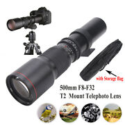 500mm F8‑f32 Manual Focus Telephoto Lens For T2 Mount Camera Photography Black