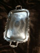 Antique Oneida Silver Plate Ornate Rectangle Tray 23 1/2 X 14 Butlers Platter