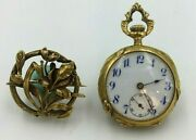 1901 Ladies 14k Pocket Watch With Broach