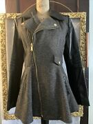 Bcbg Black Leather Wool Moto Jacket S Zip Up Lined Trench Coat Gold Flare Pleat