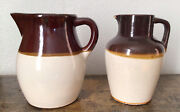 Vintage Antique Rrp Co Roseville Usa Stoneware Pottery Two Tone Brown Pitchers