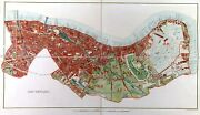 London Antique Map Of South London Incl. Southwark And Bermondsey 1875