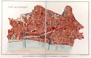 London Antique Map Of The City Of London 1875
