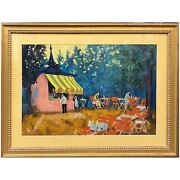 Mid Century French Impressionist Outdoor Cafe Scene Oil Painting Illegible Sign
