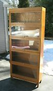 Antique Golden Oak Globe Wernicke Large Barrister Lawyer's Stacking Bookcase