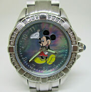 Affinity Diamond Mother Of Pearl Mickey Mouse Ladies Stainless Steel Watch