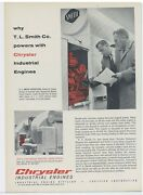 1958 Chrysler Industrial Engines Ad T.l. Smith Ready Mix Concrete Mixers App.