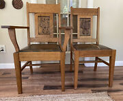 Pair Of Mission/arts And Crafts Style Quarter-sewn Tiger Oak Carved Back Chairs