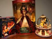 Rare Disney Beauty And The Beast Musical Snow Globe Rose Garden , Belle And 2 Dvd