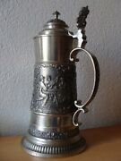 Antique Germanic Tin Collectible Beer Mug Glass Tavern Cup Bowl Dishes