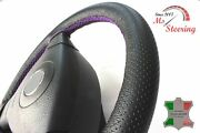 For Isuzu Pickup 81-88 Black Perf Leather Steering Wheel Cover Purple Stitch