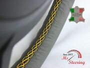 For Reliant Robin Mk 3 2006+- Grey Leather Steering Wheel Cover   Yellow Stitch