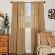 Vhc Burlap Natural Farmhouse Country Cottage Window Curtain Panels