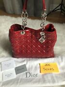 Christian Dior Brand New Authentic Cannage Red Patent Leather Tote Bag