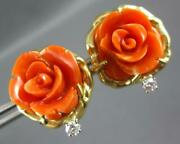 Antique Large .16ct Diamond And Aaa Coral 18kt Yellow Gold 3d Stud Earrings 27244