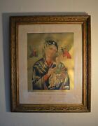 Our Lady Of Perpetual Help Icon Large Antique Victorian Print And Gold Frame