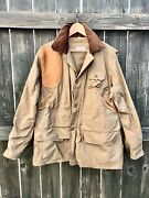 1930s Red Head Waxed Canvas And Leather Duck Hunting Jacket Coat Vintage