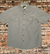 G.h. Bass And Co Menand039s Size L Grey Button Front Short Sleeve Shirt 11c1