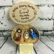 Inge-glas Bible Story The Holy Family Glass Ornament 3 Pc Wood Box Germany Xmas