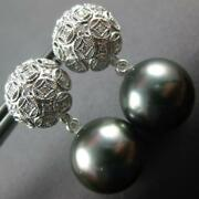 Large .30ct Diamond And Aaa Tahitian Pearl 18kt White Gold Dome Hanging Earrings