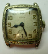 Elgin Art Deco Ornate Wgold Filled Case Watch For Restoration Or Trench Part