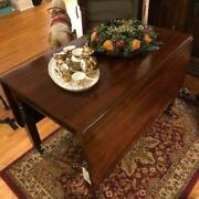 Mid Century Antique Mahogany Drop Leaf Table Coffee Dining Kitchen