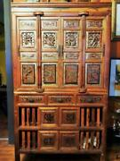 Rare Antique Ornate 18th Century Carved Wood Chinese Cabinet Buffet
