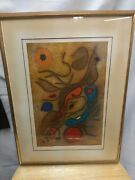 Gustave Singier 1967 Abstract Lithograph Nereids Lune Mid Century Modern Signe